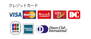 取り扱いクレジットカード一覧:VISA, Master Card, NICOS, UFJ Card, DC card, JCB, AMERICAN EXPRESS, Diners Club International